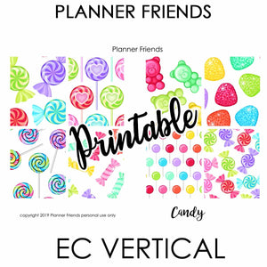 "EC VERTICAL Digital Printable Weekly Stickers ""CANDY"""