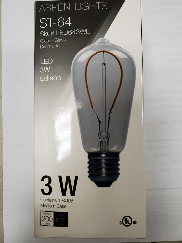 LED Edison Loop Antique Vintage Light Bulb -  -3 wattage - E26 - 3,000 hrs of life