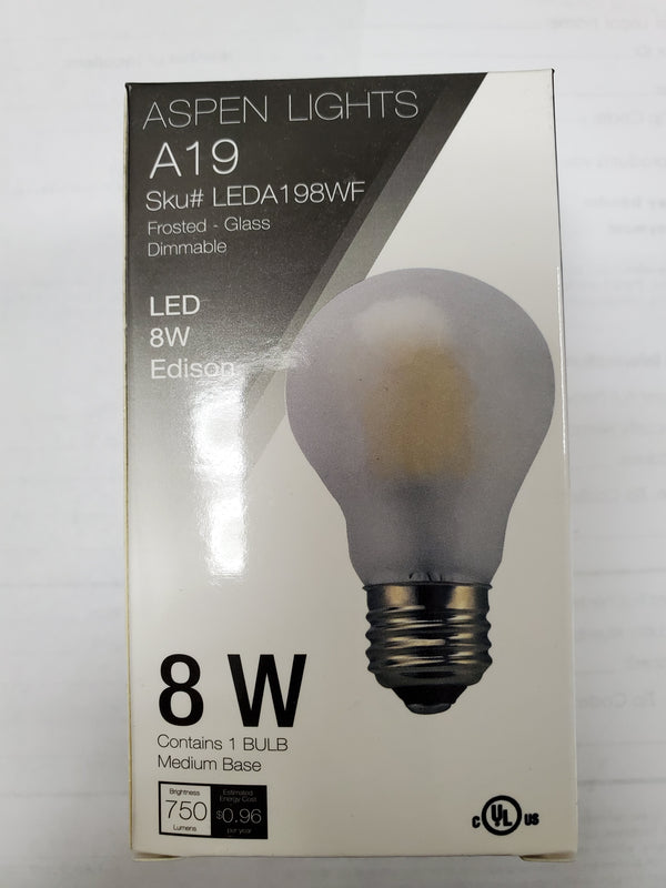A19 8W & 9W LED Frosted Edison Light Bulb - E26 - 10,000hrs of life