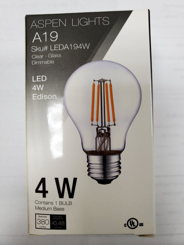 A19 4W LED Edison Light Bulb -  -4 wattage - E26 - 10,000hrs of life