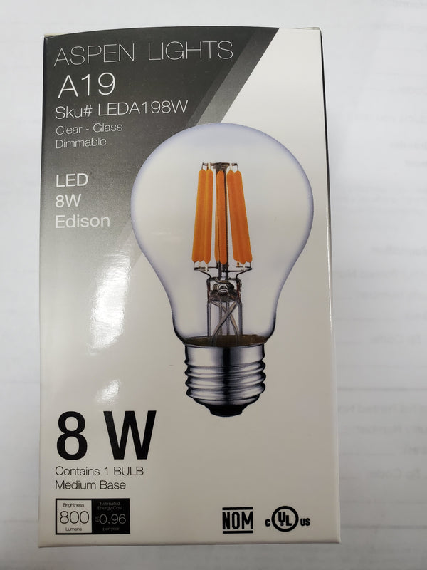 A19 8W LED Edison Light Bulb -  -8wattage - E26 - 10,000hrs of life