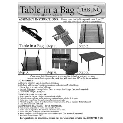 A2716GA - Table in a Bag.  Low Aluminum Portable - Silver  27 x 27 x 16H