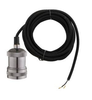 B015 - Black Nickel - 15ft black straight cord. hardwired UL.  Bulbs size is a medium / E26 Bulb not included
