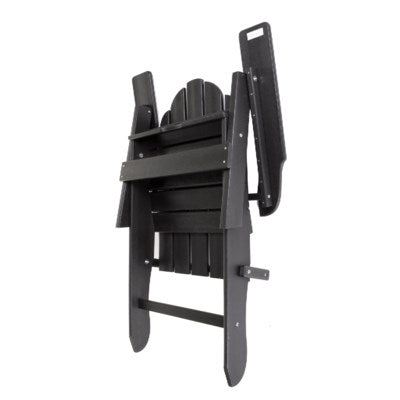 BPADIR - Folding Black  color POLY Adirondack Chair - Size 38H X 28 X 28 - Commercial Heavy Duty Plastic