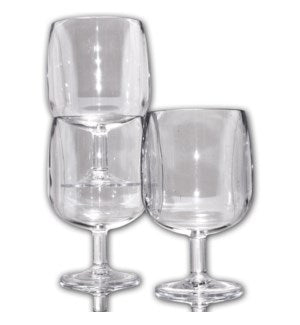C030504 - Clear Stackable Plastic Wine Glasses- 4 Pack