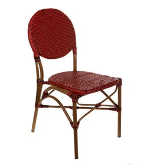 CBCRRB - Red & Black  color Café Bistro Chair- Size 35H X 17 X 21