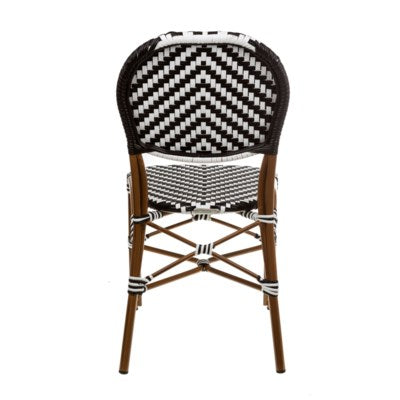 CBCWWB - Black & White  color Café Bistro Chair- Size 35H X 17 X 21