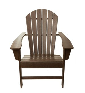 CPADIR - Folding Brown  color POLY Adirondack Chair - Size 38H X 28 X 28 - Commercial Heavy Duty Plastic