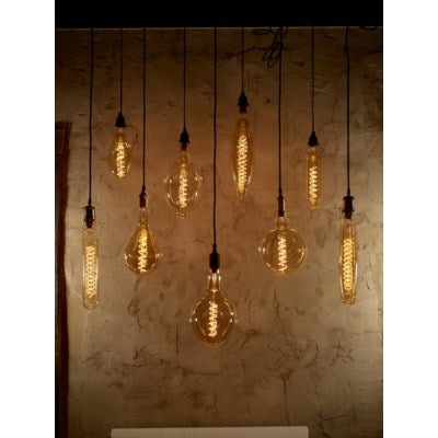 LED80 - Large Tube Style - Swirl Filament -  Edison Antique Vintage Oversize LED Light Bulb - 1 Pack - Medium size.  6 wattage - E26 - 15,000 hour of life.    180 Lumens