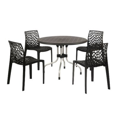ROUBLK - Commercial grade round table.  Hard plastic material.  Black color.  28.5
