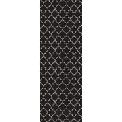 RUG10BLK26 - Quaterfoil Design- Size Rug: 2ft x 6ft black & white
