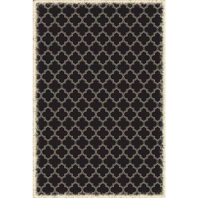 RUG10BLK46 - Quaterfoil Design- Size Rug: 4ft x 6ft black & white