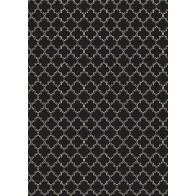 RUG10BLK57 - Quaterfoil Design- Size Rug: 5ft x 7ft black & white