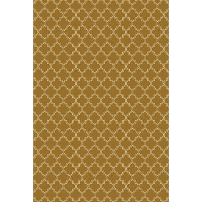 RUG10BRN46 - Quaterfoil Design- Size Rug: 4ft x 6ft brown & white