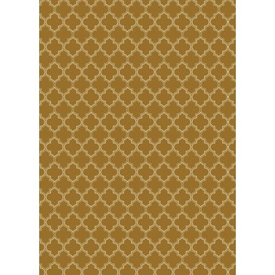 RUG10BRN57 - Quaterfoil Design- Size Rug: 5ft x 7ft brown & white