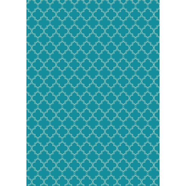 RUG10T57 - Quaterfoil Design- Size Rug: 5ft x 7ft teal & white