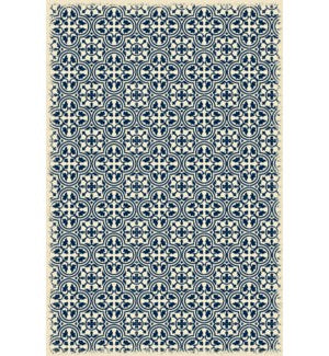 RUG1B46 - Modern European Design - Size Rug: 4ft x 6ft blue & white color with a weather aged finish- super durable and multilayer technical grade vinyl rug.