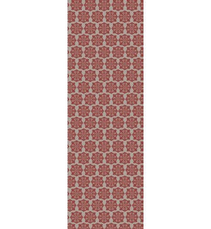 RUG1R26 - Modern European Design - Size Rug: 2ft x 6ft red & white color with a weather aged finish- super durable and multilayer technical grade vinyl rug.