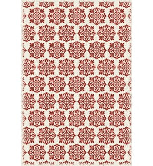 RUG1R46 - Modern European Design - Size Rug: 4ft x 6ft red & white color with a weather aged finish- super durable and multilayer technical grade vinyl rug.