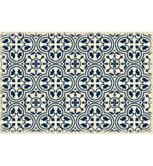 RUG2B23 - Quad European Design - Size Rug: 2ft x 3ft Blue & White