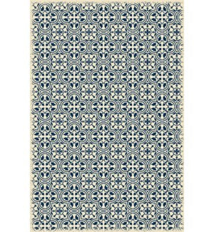 RUG2B46 - Quad European Design - Size Rug: 4ft x 6ft blue & white color with a weather aged finish- super durable and multilayer technical grade vinyl rug.