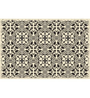 RUG2BLK23 - Quad European Design - Size Rug: 2ft x 3ft Black & White