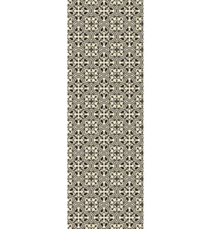 RUG2BLK26 - Quad European Design - Size Rug: 2ft x 6ft black & White