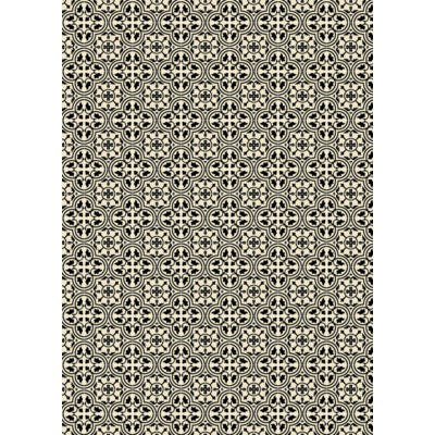 RUG2BLK57 - Quad European Design - Size Rug: 5ft x 7ft black & White