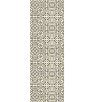 RUG2G26 - Quad European Design - Size Rug: 2ft x 6ft grey & white color with a weather aged finish- super durable and multilayer technical grade vinyl rug.
