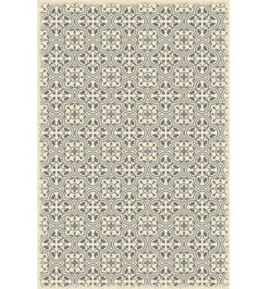 RUG2G46 - Quad European Design - Size Rug: 4ft x 6ft grey & white color with a weather aged finish- super durable and multilayer technical grade vinyl rug.