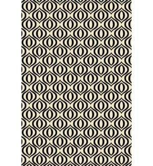 RUG3BLK23 - Ring of European Design - Size Rug: 2ft x 3ft black & white