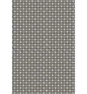 RUG3BLK46 - Ring of European Design - Size Rug: 4ft x 6ft black & white color with a weather aged finish- super durable and multilayer technical grade vinyl rug.