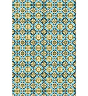 RUG4C46 - Paris of European Design - Size Rug: 4ft x 6ft blues, green, a tan colors of Paris with a weather aged finish- super durable and multilayer technical grade vinyl rug.
