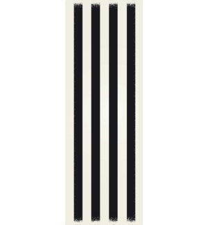 RUG5BLK26 - Strips of European Design - Size Rug: 2ft x 6ft black & white colors with a weather aged finish- super durable and multilayer technical grade vinyl rug.