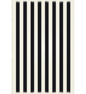 RUG5BLK57 - Strips of European Design - Size Rug: 5ft x 7ft black & white colors with a weather aged finish- super durable and multilayer technical grade vinyl rug.