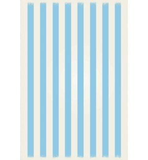 RUG5LB46 - Strips of European Design - Size Rug: 4ft x 6ft light blue & white colors