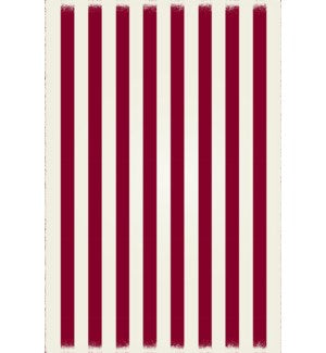 RUG5R46 - Strips of European Design - Size Rug: 4ft x 6ft red & white colors with a weather aged finish- super durable and multilayer technical grade vinyl rug.