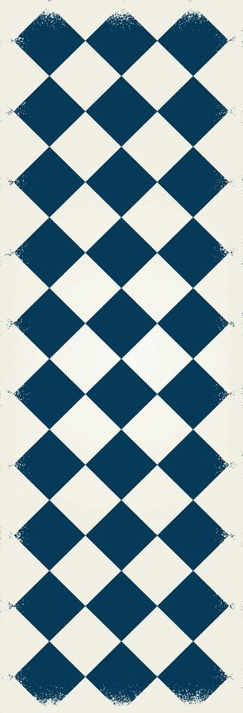RUG6B26 - Diamond European Design - Size Rug: 2ft x 6ft blue & white colors