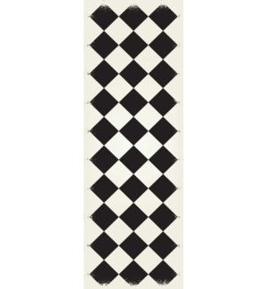 RUG6BLK26 - Diamond European Design - Size Rug: 2ft x 6ft black & white colors with a weather aged finish- super durable and multilayer technical grade vinyl rug.