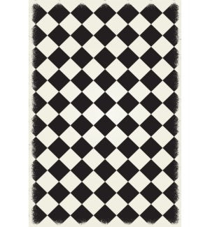 RUG6BLK57 - Diamond European Design - Size Rug: 5ft x 7ft black & white colors with a weather aged finish- super durable and multilayer technical grade vinyl rug.