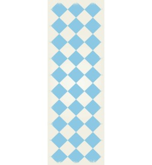 RUG6LB26 - Diamond European Design - Size Rug: 2ft x 6ft light blue & white colors