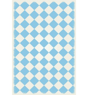 RUG7LB46 - English Checker Design - Size Rug: 4ft x 6ft  light blue & white colors