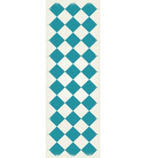 RUG7T26 - English Checker Design - Size Rug: 2ft x 6ft teal & white colors