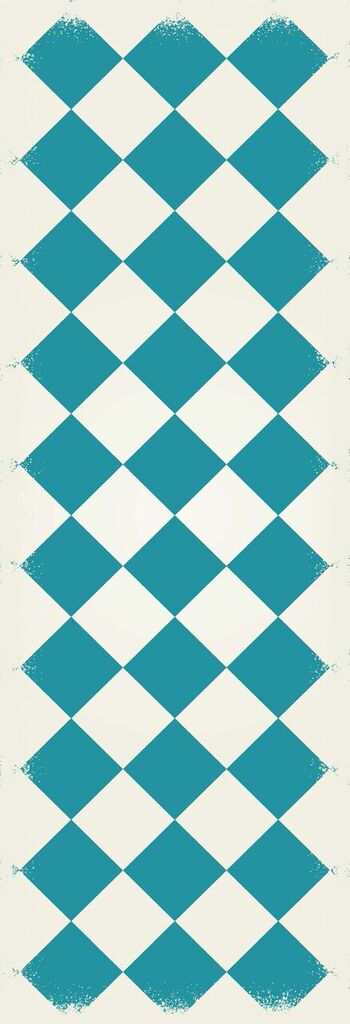 RUG6T26 - Diamond European Design - Size Rug: 2ft x 6ft teal & white colors