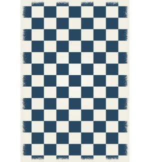 RUG7B46 - English Checker Design - Size Rug: 4ft x 6ft blue & white colors