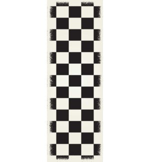 RUG7BLK26 - English Checker Design - Size Rug: 2ft x 6ft black & white colors with a weather aged finish- super durable and multilayer technical grade vinyl rug.