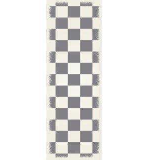 RUG7G26 - English Checker Design - Size Rug: 2ft x 6ft green & white colors