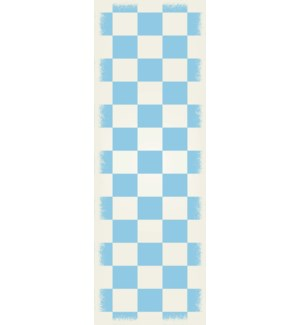 RUG7LB26 - English Checker Design - Size Rug: 2ft x 6ft light blue & white colors