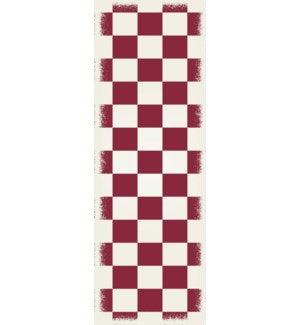 RUG7R26 - English Checker Design - Size Rug: 2ft x 6ft red & white colors with a weather aged finish- super durable and multilayer technical grade vinyl rug.