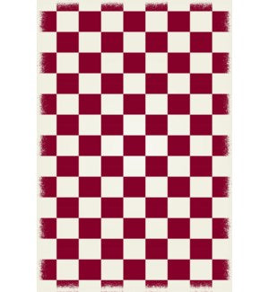 RUG6R46 - Diamond European Design - Size Rug: 4ft x 6ft red & white colors with a weather aged finish- super durable and multilayer technical grade vinyl rug.